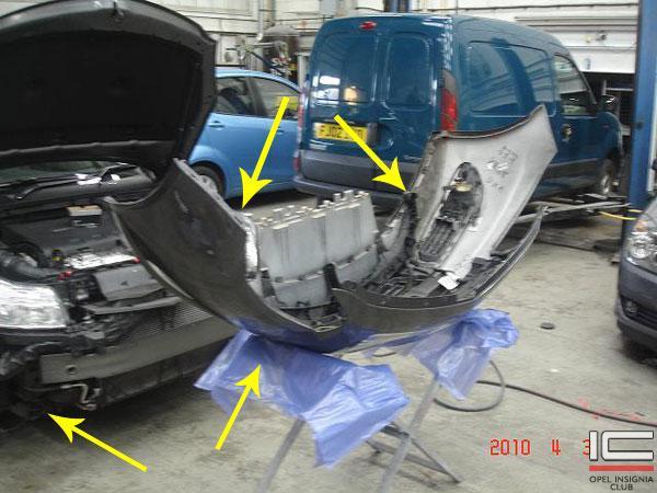 Демонтаж переднего бампера Opel Astra J