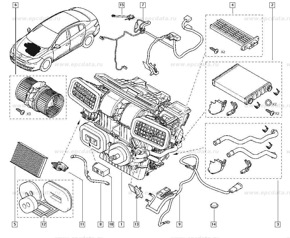 Как заменить фильтр салона в Renault Megane III