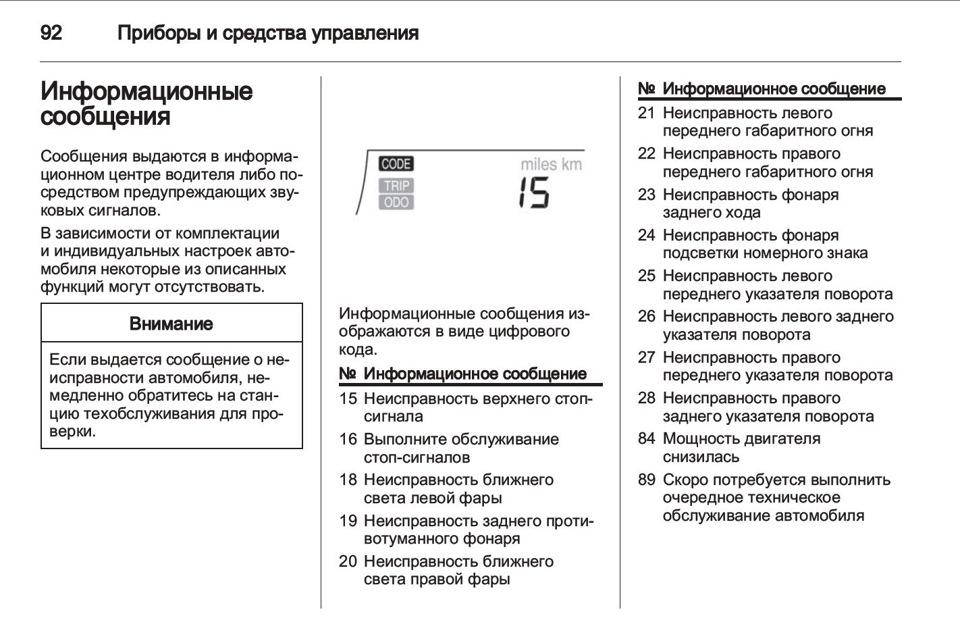 Коды информационных сообщений, которые отображаются на панели приборов Chevrolet Aveo 2