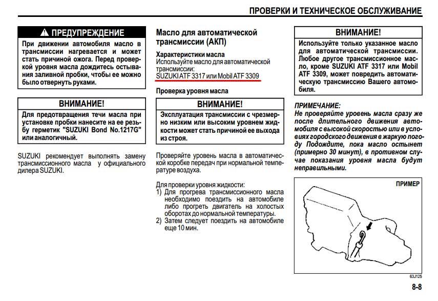 Процедура проверки уровня ATF в АКПП Suzuki Grand Vitara II