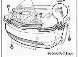 Снятие и установка переднего бампера на  Toyota Prius