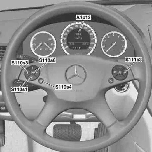 Сброс сервисного интервала на руле Mercedes-Benz C-Klasse (W204) с 12 кнопками фото