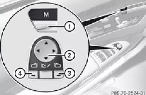 Как на Mercedes-Benz S-klasse (W221) установить автоматическое поворачивание правого зеркала при парковке?