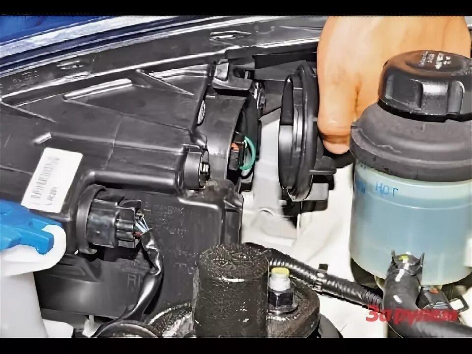 Замена лампы в противотуманной фаре Hyundai Solaris