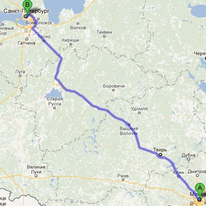Расстояние от питера до москвы - ab